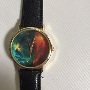 Lovely galaxy black patent leather watch